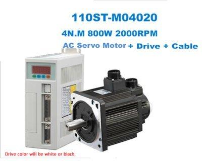 GOWE AC SERVO MOTOR & DRIVER SYSTEM 4N.M 800W 2000RPM 110ST AC (Driver 2000rpm Tool)