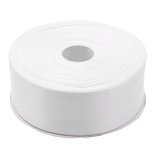 Topenca Supplies 1-1/2 Inches x 50 Yards Double Face Solid Satin Ribbon Roll, White