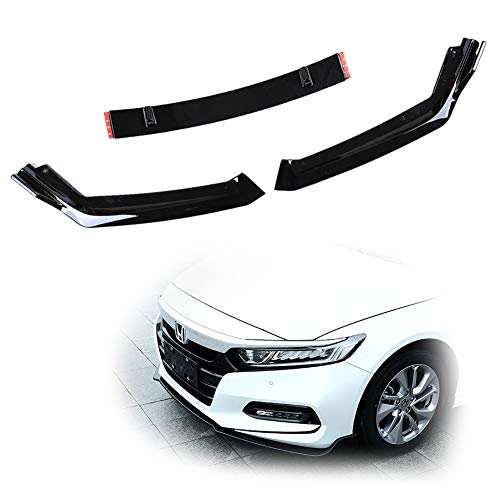 - GTINTHEBOX 3PC JDM Style ABS Front Bumper Lip Splitter for Honda Accord 10th Gen Sport 2018 2019 - Glossy Black