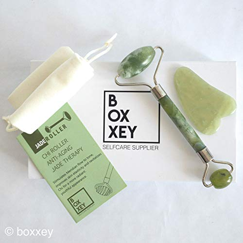 Double Jade Roller & Gua Sha Stone Set. Facial Massager Tools for Face, Puffy Eye and Neck Anti Aging Skin Therapy. Set includes Wand, Gift Box, Tips Book and Travel Pouch. By Boxxey (And System Lymphatic Head Neck)