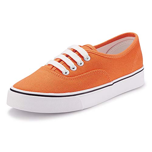 Women Canvas Sneaker Casual Core Classic Skate Shoes Low Cut Espadrilles Lace up Comfortable Orange 8 US]()