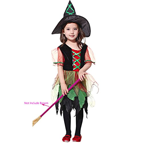 Hollicy Halloween Witch Kids Costume Children Classic Fairytale Dress+Hat (L, MS1007)