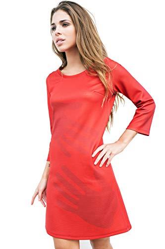 Con Y Matita De Fabricado Sobre Mujer Diseñado 100 Rojo Original Artesanía En España El Fondo Neopreno Sello Valenciana Anaranjado Estampado Vestido Manos WIqIZ6r8S