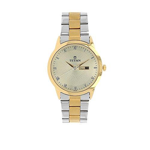 Titan Men's 'Classique' Quartz Stainless Steel Watch, Color:Two Tone (Model: 1584BM01) ()