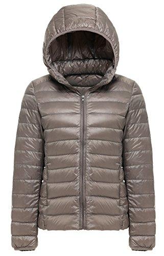 Hooded Nylon Shorts - Cheerun Women's Hooded Packable Down Coat Ultra Light Weight Short Down Jacket Women Khaki US S/Tag XL