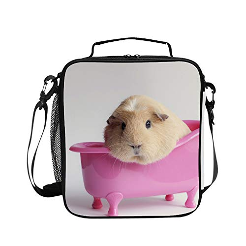 Beaded Guinea Pig - Insulated Lunch Bag for Women with Ice Pack Ideal for Work and Zips Fully Closed - Guinea Pigs In Bath
