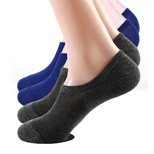 - MensnoshowAthletic Casual socks Low Cut Non Slip Heel Grip Invisible Boat Sock for women men, Premium Bamboo with Silicone Grips Non-Slide,Mesh Knit (2 Pairs Pack) Size 6-10 (Dark gray/Blue)