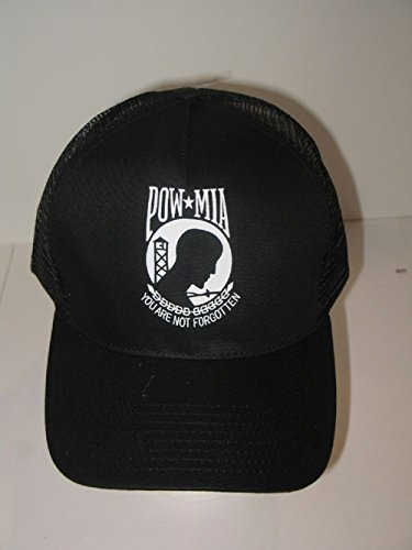(Pow Mia POWMIA Pow-Mia Prisoner of War Embroidered Mesh Trucker style military hat cap)