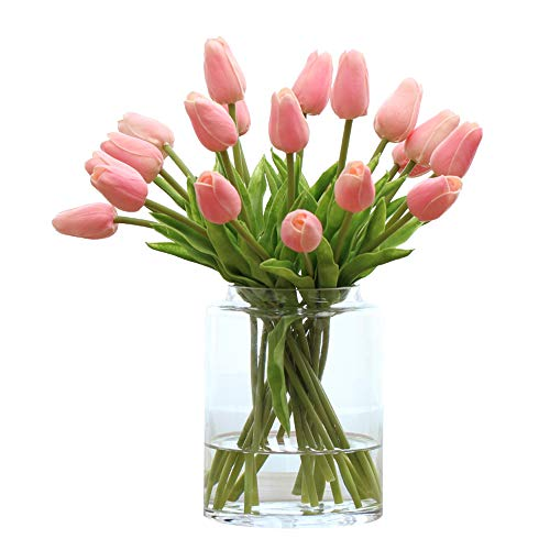 Montout 12PCS/Set PU Stunning Holland Tulip Flower Real Touch Artificial Silk Flowers Arrangement Bouquet Home Room Office Wedding Party Decor - Pink Tulip Flower