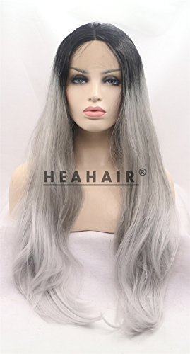 Heahair Comfortable Ombre Gery Gray Silver Fox Granny Grey Silky Handtied Synthetic Lace front - Lace Granny