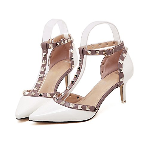 Women's Adora Rivet Studded Pointed-Toe T-Strap Ankle Buckle High Heels Party Pumps 736white yoa7ur79v