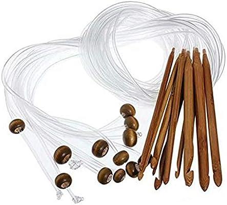 SODIAL Agujas Ganchos Ganchillo De Alfombra Tunecino Afgano De Bamb/ú Flexible Al Azar Agujas Ganchos Ganchillo De Alfombra Tunecino Afgano De Bamb/ú Natural Transparente