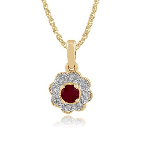 Gemondo Bague Or Jaune 9ct Rubis & Diamant Floral Clous Ensemble Boucles d'oreille et collier 45cm