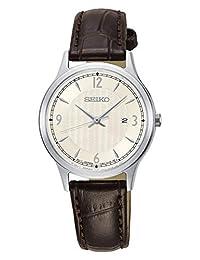 Seiko SXDG95P1 Reloj Análogo para Mujer, color Café con Beige