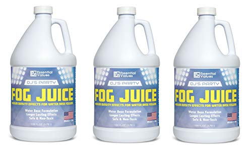 - Essential Values DJ's Party Fog Juice 3 PACK (128 FL OZ / 1 Gallon Per Jug) – Produces Long Lasting Medium Fog for Water Based Foggers, Perfect for 400 Watt to 1500 Fog Machines – MADE IN USA