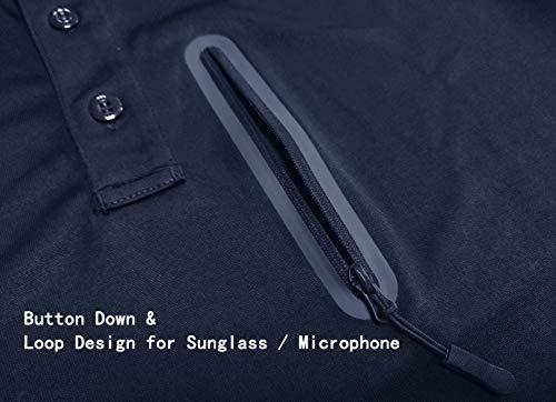 KEFITEVD Polo à manches longues pour homme avec poche zippée 3