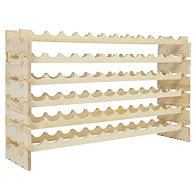 Wine rack 72 Bottle Wall Cabinet Table Kitchen Mounted Stackable Storage 6 Tier Solid Wood Display Shelves