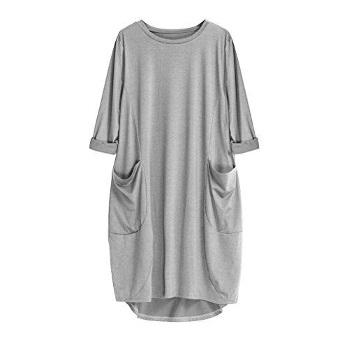 Courtes Flare Col Gris T Rond Manches Poches Unie Lenfesh Robe Robe avec Femmes Midi Casual LaChe Couleur Shirt 8CBw0