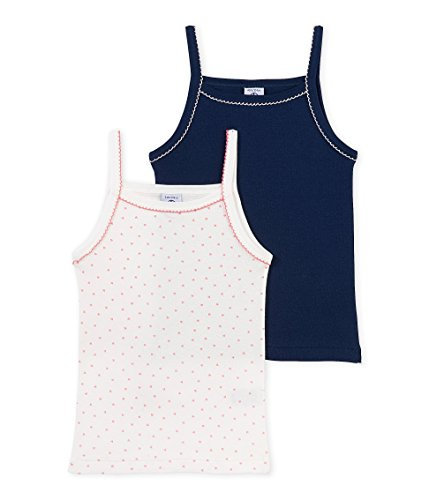 Petit Bateau Girls 2 Pack Solid and Heart Print Camisoles, Navy Pink White, 6 - Bateau Camisole Petit