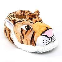 Image of Plush Tiger Animal Slippers for Men