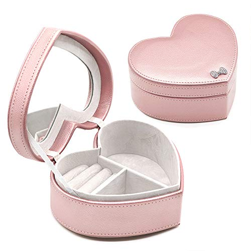 besharppin Jewelry Box Organizer, Heart Shape Mirror Ring Box,Gift Box for Jewelry, Earrings Organizer -
