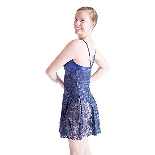 a9978dd81 HDW DANCE Women Contemporary Lyrical Dance Dress Lace Overlay Nylon  Underskirts Navy Blue