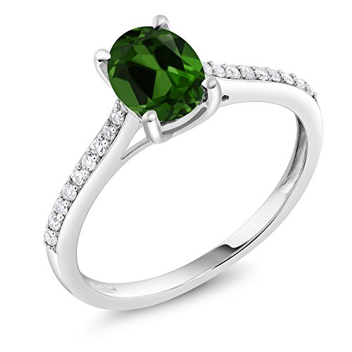 10K White Gold Pave Diamond Engagement Solitaire Ring set with 8x6mm Oval Green Chrome Diopside (1.30 ct, Available in size 5, 6, 7, 8, 9) (Diopside Green Ring)