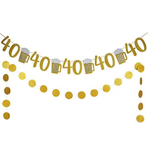 Gold Glittery Beer Mug & 40 Banner and Gold Glittery Circle Dots Garland -40th Birthday Wedding Anniversary Party Decor
