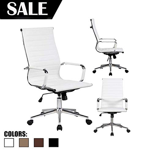 2xhome White Contemporary Mid Century Modern High Back Ribbed PU Leather Tilt Adjustable Ergonomic Office Chair with Padded Arms Arm Rest Wheels Desk Task Back Support Lumbar Swivel Conference Design