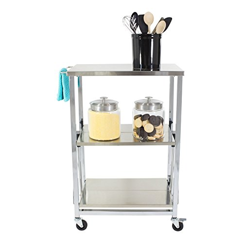 Stainless Steel Folding Kitchen Cart by Storables