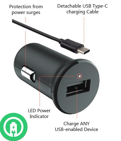 Price comparison product image Turbo Power 15W ZTE Axon 7 Car Charger with Detachable Hi-Power USB Type-C Cable!