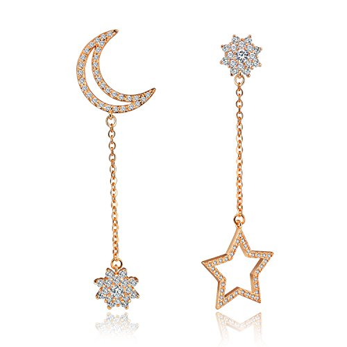Platinum / Rose Gold Plated Cubic Zirconia Long Dangle Earings Star Moon Design Women Wedding Bridal Jewelry - Pave Star Earrings