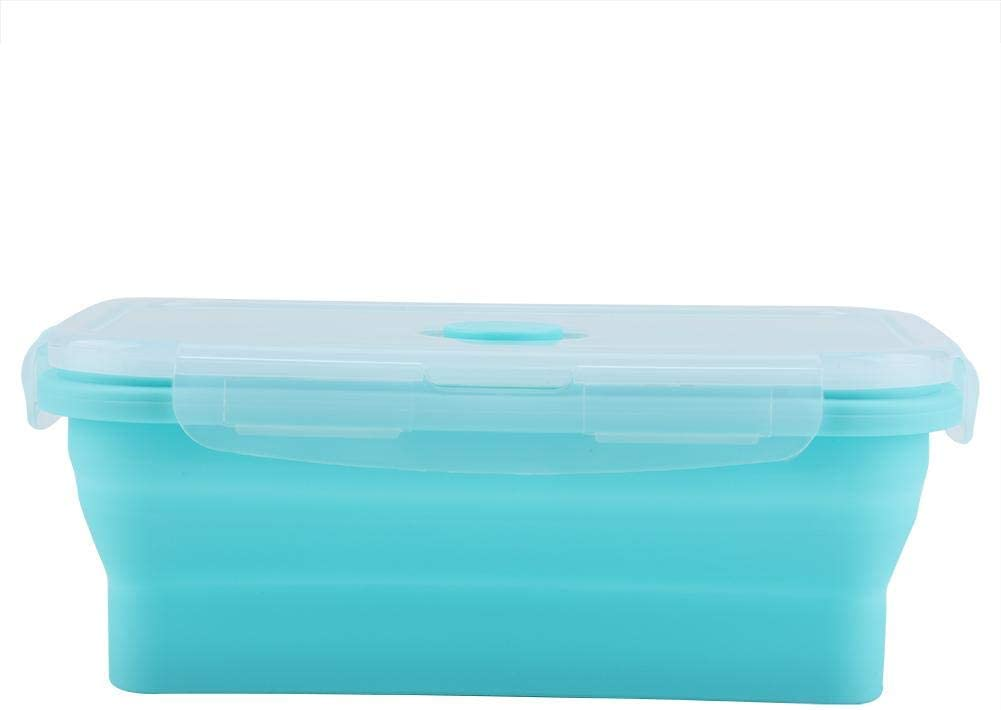 Vobor Portable Silicone Lunch Box Folding Food Container (1200ml-Green)