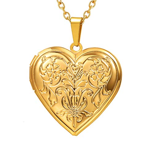 - U7 Blooming Flower Locket Necklace Women Gift Grandma Necklaces 18K Gold Plated Vintage Heart Shape Photo Lockets Pendant