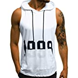 Yihaojia Men Blouse Mens Workout Hooded Tank Tops Sleeveless Gym Bodybuilding Stringer T-Shirts with Pocket (M, White)