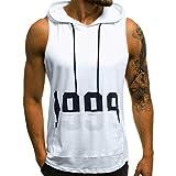 PASATO M-XXL Men Letter Printing Fitness Muscle Hole Bodybuilding Skin Tight-Drying Tops Blouse Vest Sleeveless Hooded T-Shirt(White,M=US:S)