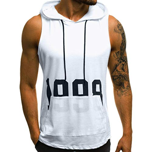 Yihaojia Men Blouse Mens Workout Hooded Tank Tops Sleeveless Gym Bodybuilding Stringer T-Shirts with Pocket (L, White)