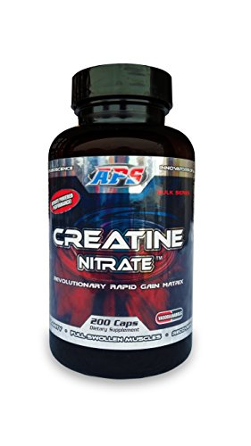 APS Nutrition Creatine Nitrate, Revolutionary Rapid Gain Matrix For Vascularity, Strength, ATP Elevation And Recovery, 200 Capsules