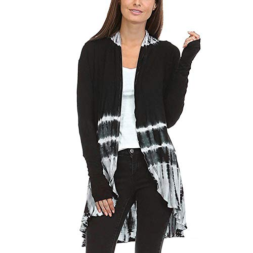 Hi-Low Open Cardigan Women Fashion Tie-Dye Long Sleeve Asymmetric Top Blouse ()