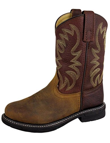 Image of Smoky Mountain Childrens Buffalo Wellington Oiled Distressed Leather Round Toe Brown Western Cowboy Boot