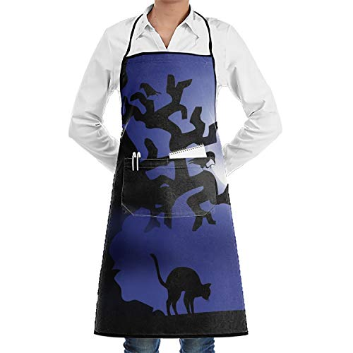 SHUANGRENDE Happy Halloween Aprons Waitress Aprons with Pockets Plus Size]()