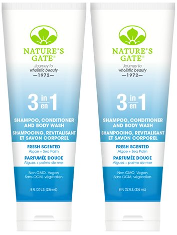 Nature's Gate 3-in-1 Shampoo Conditioner and Body Wash Fresh Scented (Pack of 2) with Lavender Oil, Peony Root Extract, and Ginseng Root Extract, 8 fl. oz. (Gel Scented Peony Shower)