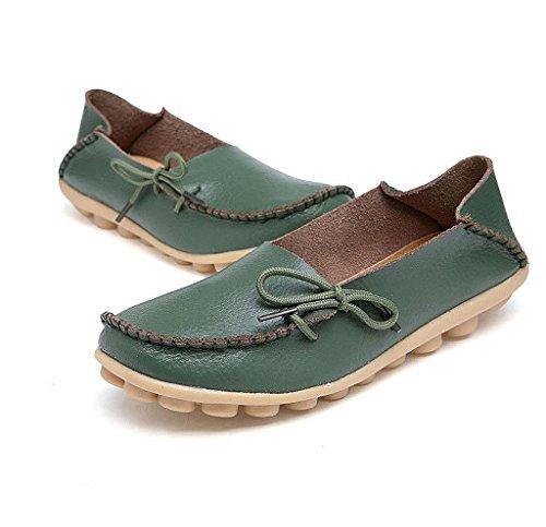 Army Schuhe Frauen Fahrschuhe iLory Casual Müßiggänger Bootsschuhe Green Flache Leder Bequeme B4wxz7q6n