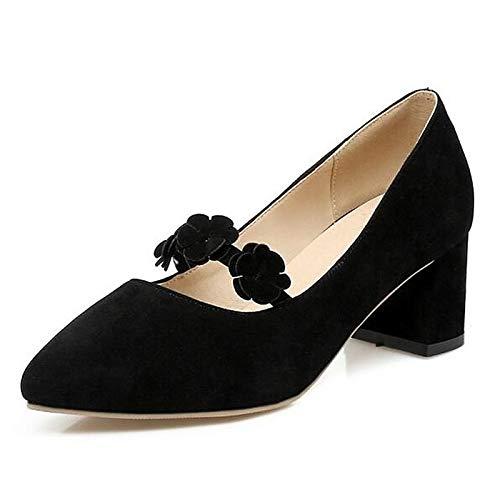 QOIQNLSN Zapatos De Mujer Suede Primavera Comodidad Tacones Chunky Talón Negro/Gris / Rosa Black