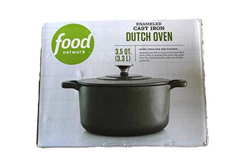 Food Network 3.5 qt Enameled Cast-Iron Dutch Oven Gray (1/2 Quart Enameled Cast Iron)