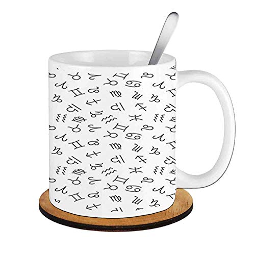 - Signs of The Zodiac in Twelve Horoscopes Cosmos Future,Black White;Ceramic Cup with Spoon & Round wooden coaster Milk Coffee Tea Mug 11oz gifts for family