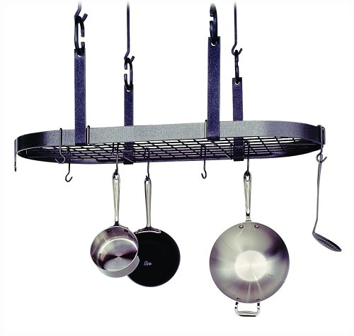 Enclume Premier 4-Point Oval Ceiling Pot Rack, Hammered Steel