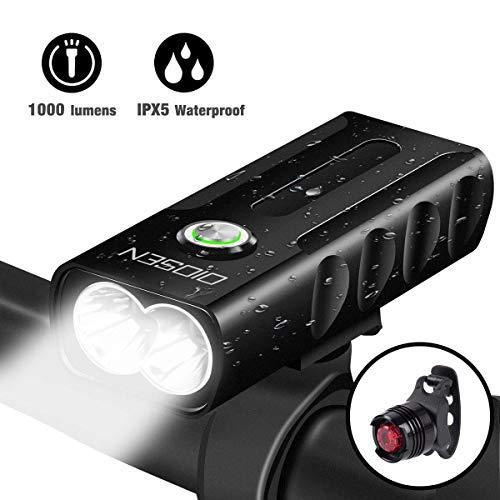 OIOSEN Juego de Luces para bicicleta, Lámpara de bicicleta de 1000 lúmenes recargable mediante USB, Lámparas delanteras y traseras, Linterna de seguridad a prueba de agua para ciclismo, cámping, senderismo