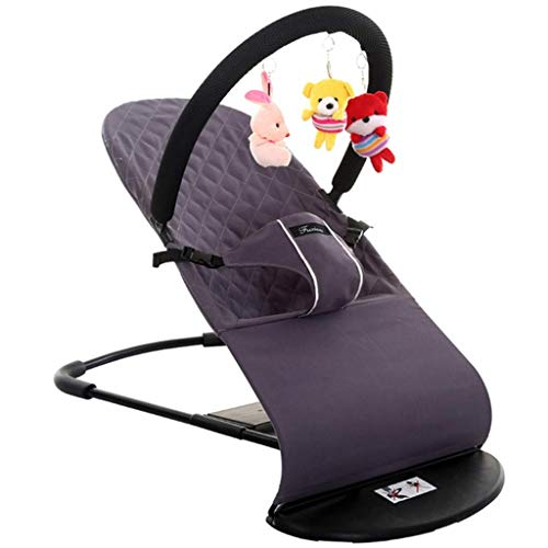 Rocking Chairs Baby Vibrating Bouncer, Children's Bed Hammock Portable for Newborn, Toddler, Kids from Ages 0 to 2, Quick Assembly (Color : Gray)