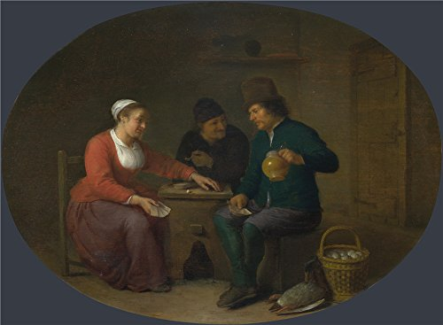 'Hendrick Sorgh A Woman Playing Cards With Two Peasants ' Oil Painting, 20 X 27 Inch / 51 X 69 Cm ,printed On Perfect Effect Canvas ,this Imitations Art DecorativePrints On Canvas Is Perfectly Suitalbe For Hallway Gallery Art And Home Artwork And Gifts